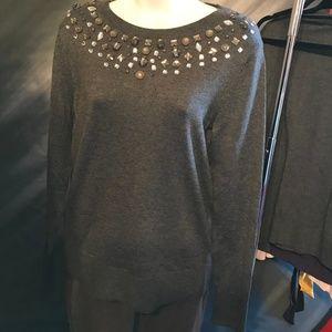 Charcoal Embellished Crewneck Sweater